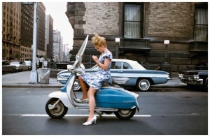 A girl on a scooter, New York City, 1965 – photograph by Joel Meyerowitz